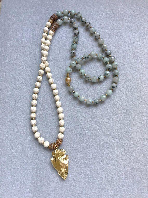 Aventurine Beaded Necklace 36 inches Lucky Stone Heart Chakra