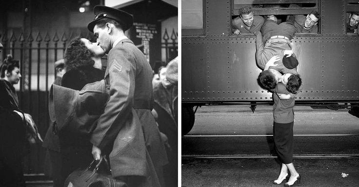 Fotografías de cómo era enamorarse en tiempos de guerra;  te despedías de la persona amada sin saber cuándo la volverías a ver, o si es que la volverías a ver.