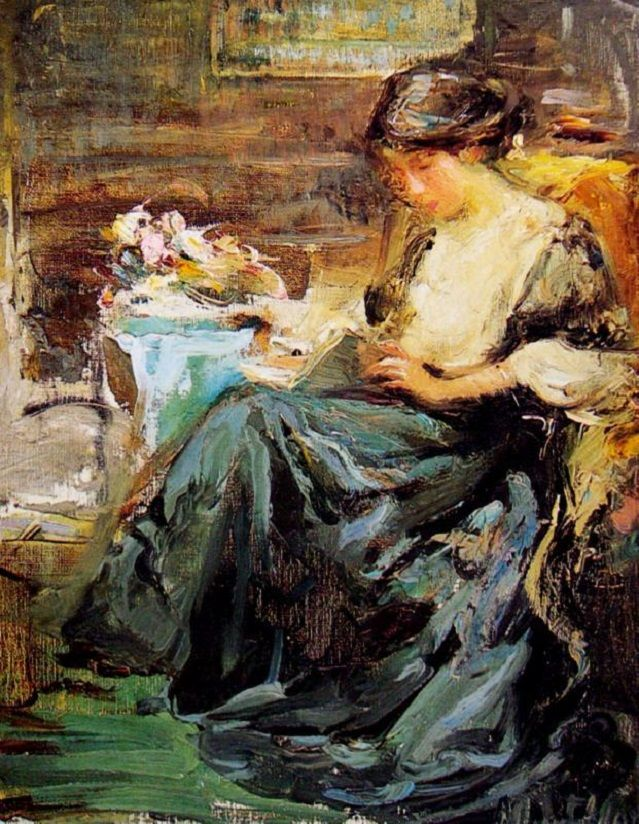 Josephine Margaret Muntz-Adams (Australian, 1862-1949) – Woman Reading, a Book in the Hand (Oil on canvas) – Muntz-Adams, residing in Melbourne, diverged from standard patterns of taste in her use of a somber palette and free, expressive brushwork. She exhibited internationally, being consistently acclaimed since 1896, but ended her career in relative obscurity… (Németh György)
