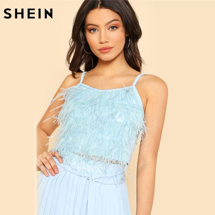 SHEIN Summer Top Crop Tops Women Blue Spaghetti Strap Camisole Fitness Party Wear Slim Fit Faux Feather Cami Top