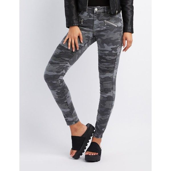 Refuge Camo Moto Skinny Jeans ($35) ❤ liked on Polyvore featuring jeans, multi, super skinny jeans, mid rise jeans, motorcycle jeans, camouflage jeans and skinny jeans