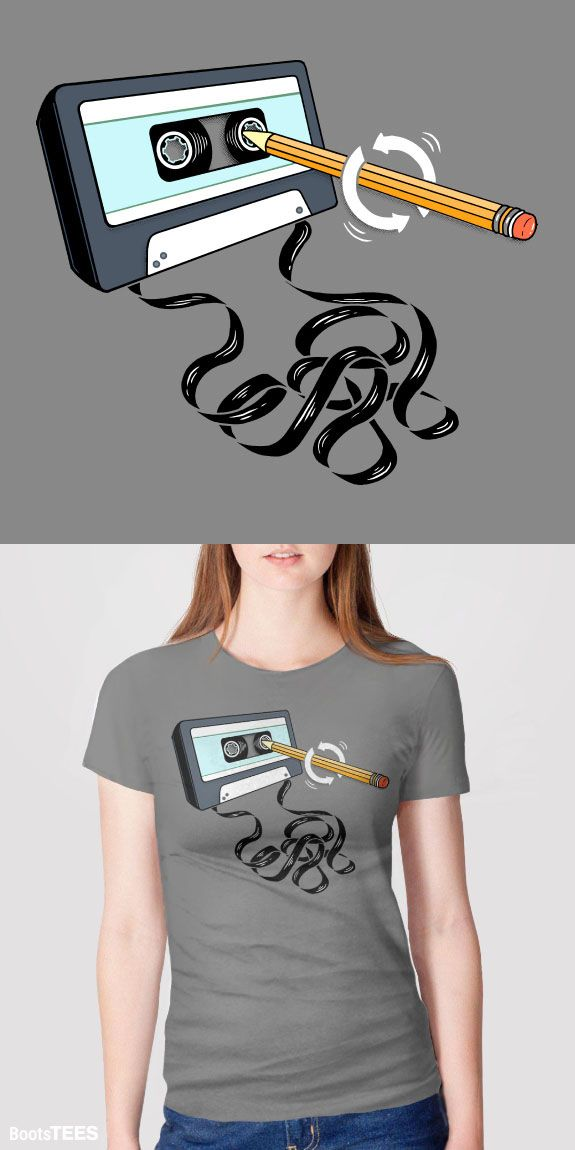 Funny 80s tee with retro music cassette tape winding pencil. Pictured: Grey Womens Tee