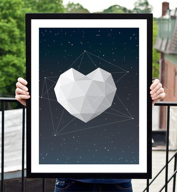 Inspirational Love Heart and Stars Polygon Art Print Home Decor Valentine Day