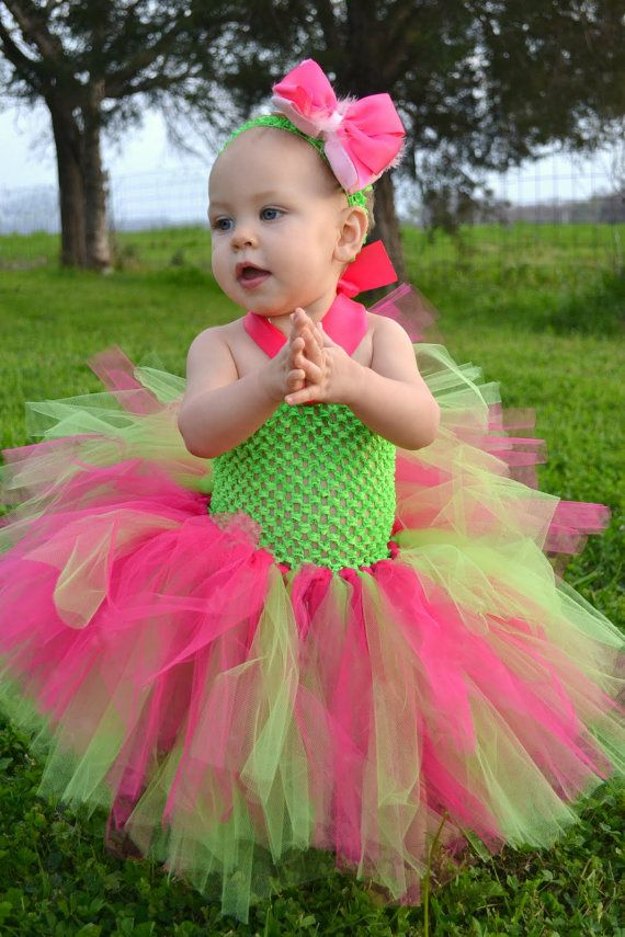 watermelon tutu dress lime green and hot pink on etsy   21 95