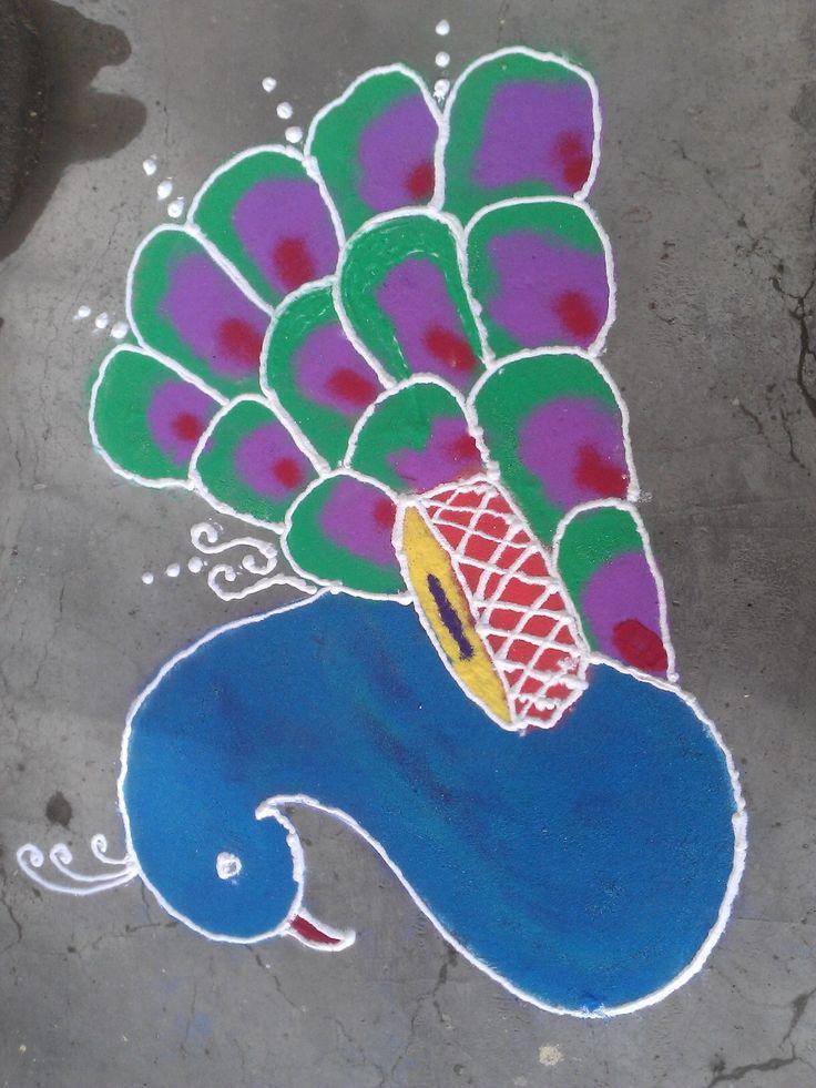 Peacock Rangoli on Diwali!