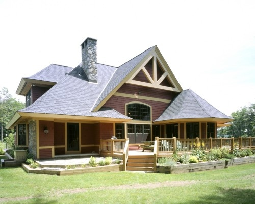 Slopeside custom home in southern Vermont traditional exterior