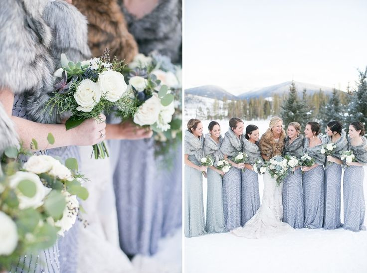 Beautiful winter bridesmaids, sequined long bridesmaids dresses, bridesmaids with fur stoles , outdoor winter wedding, Colorado Snowy Wedding, Amy Caroline Photography