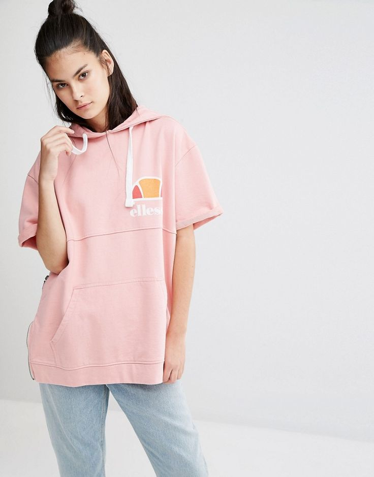 Ellesse Oversized Short Sleeve Hoodie With Vintage Chest Logo And Side Zip Features