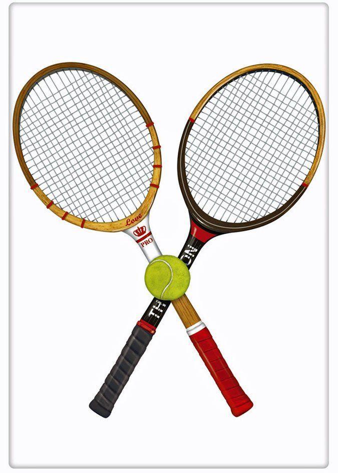 Crossed Tennis Racquets 100�0Cotton Flour Sack Dish Towel Tea Towel