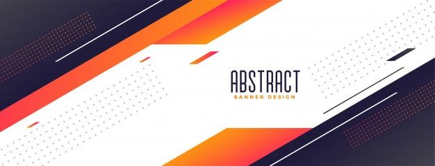 Download Geometric Memphis Style Modern Banner With Orange Shapes For Free Banner Geometric Elegant Banners