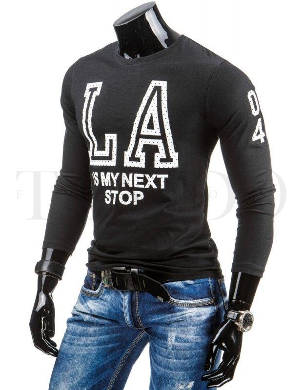 Pánské tričko s dlouhým rukávem - Nathaniel, černé