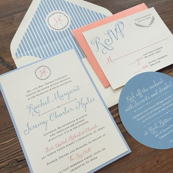 Wedding Invitation Suite // Coral And Blue // Timeless Invite // Simple And
