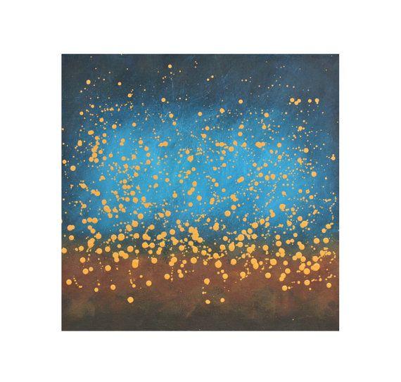 blue yellow abstract painting original stars night sky modern acrylic canvas Chasing Fireflies No. 5