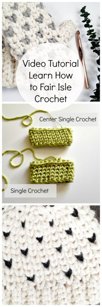 Tips to make the center single crochet stitch not so tight! Fair isle crochet / crochet video tutorial / faux knit crochet stitches / how to fair isle crochet