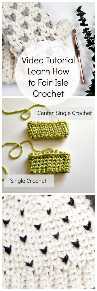 Tips to make the center single crochet stitch not so tight! Fair isle crochet / crochet video tutorial / faux knit crochet stitches / how to fair isle crochet