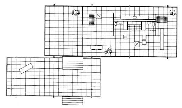 the farnsworth house, plan, ludwig mies van der rohe
