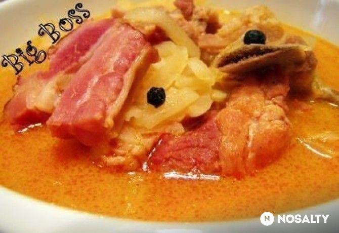 Füstölt húsos kerekrépa leves