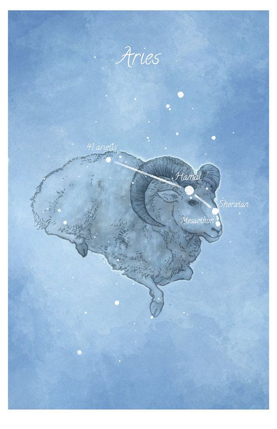 Astronomy art Aries constellation Ram by LaPetiteMascarade on Etsy, $28.00