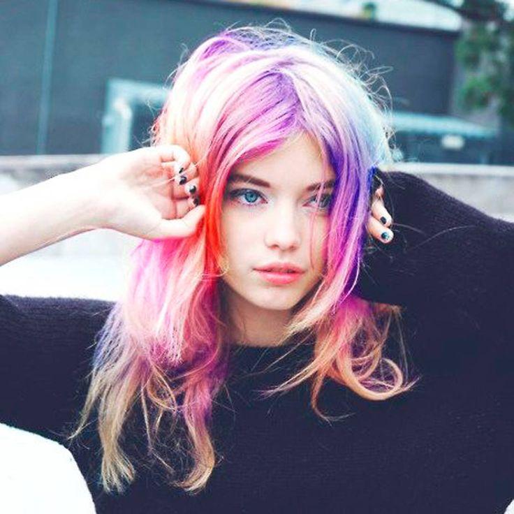cheveux arc en ciel comment les filles styles portent le rainbow hair - Coloration Cheveux Craie