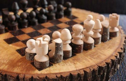 This custom, rustic chess set is a treasure.