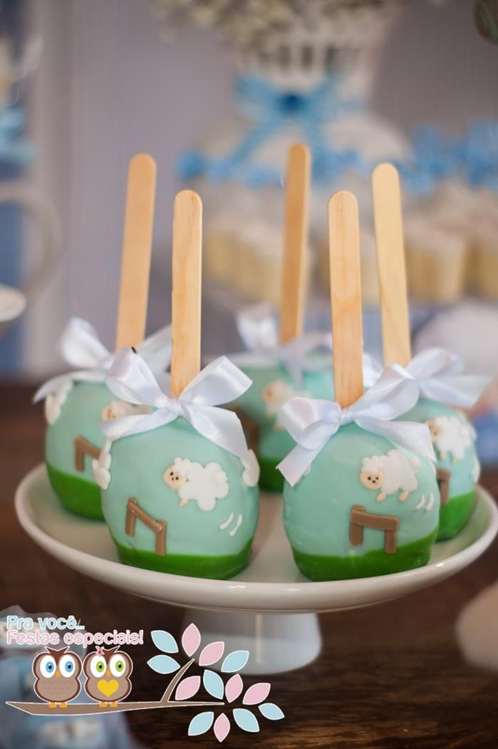 Caramel apples at a Little Lamb First Birthday Party via Kara's Party Ideas | Kara'sPartyIdeas.com #BabyShower #Birthday