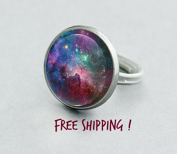 Purple Galaxy Ring. Colorful Space Ring. Adjustable Ring, Universe Silver Plated Ring. Glass Dome Ring.Statement Ring.