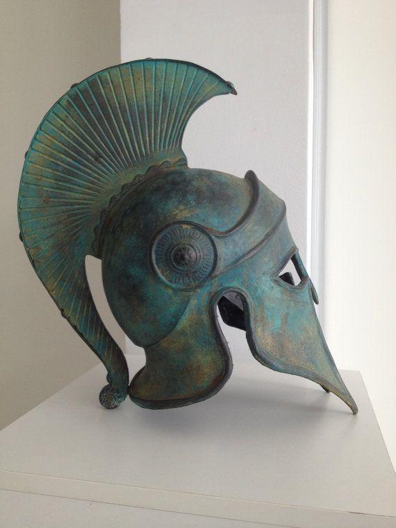 Armadura griega, casco corintio antiguo, escultura del Metal, Grecia antigua armadura casco, casco Larp, Cosplay casco, Grecia Аntique Аrmor