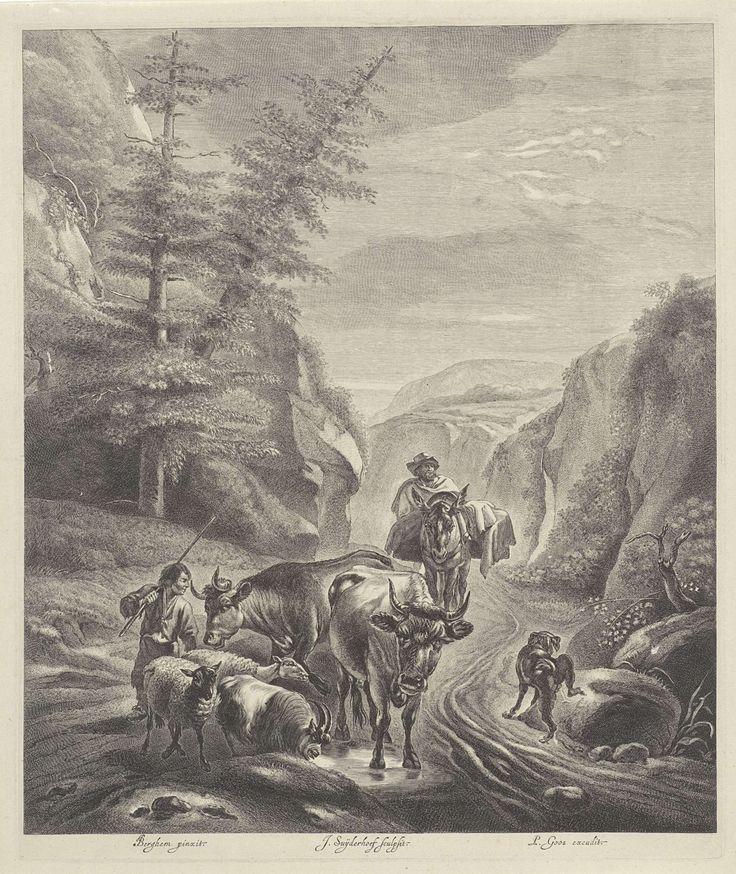 Jonas Suyderhoef   Herders met vee op een bergpad, Jonas Suyderhoef, Pieter Goos, 1657 - 1672   Een man op een ezel en een lopende jongen drijven koeien en schapen over een bergpad. Rechts een pissende hond.