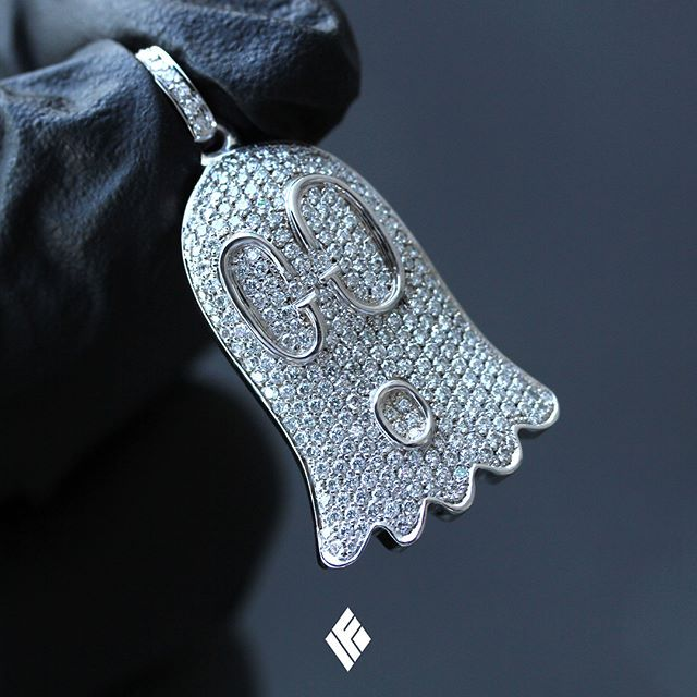 "789dd5bc61868 Solid 18K White Gold ""Gucci Ghost"" Pendant Fully Iced Out With White ..."