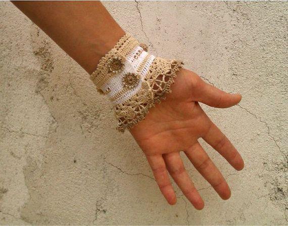 Pulsera de ganchillo ganchillo brazalete Crochet con por stasiSpark