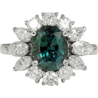 Rare Gem GIA 3.71ctw Natural Alexandrite Diamond Cluster Platinum Ring