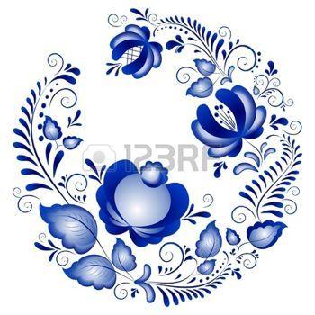 Русские орнаменты в стиле Гжель Гжель марки русская керамика, окрашенные синим на белом photo