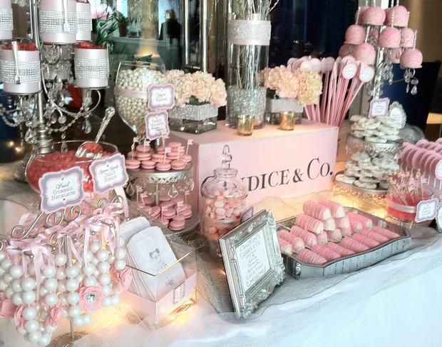 hostess with the mostess tiffany pink candy dessert table lots of cute ideas here love the gumball necklaces hanging at the far left