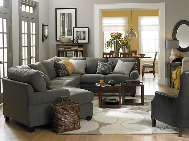 Living Room - touches of yellow in the soothing gray family room