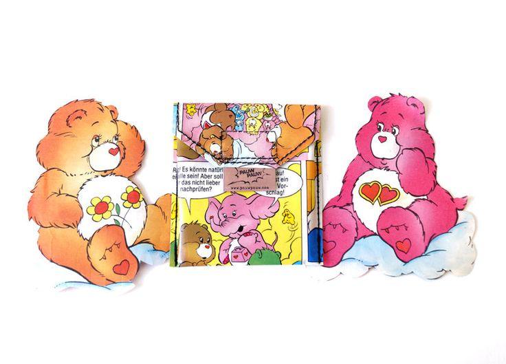 GLÜCKSBÄRCHIS Kartentäschchen  Upcycling Unikat! Karten Täschchen, Geldbeutel, Visitenkartenetui, Kreditkarten, Garfield Comic Bär Täschchen von PauwPauw auf Etsy
