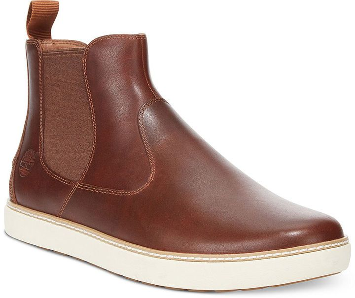 $120, Brown Leather Chelsea Boots: Timberland Earthkeepers Hudston Chelsea Boots. Sold by Macy's. Click for more info: https://lookastic.com/men/shop_items/99208/redirect