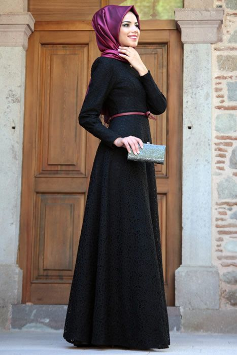 Mevra Siyah Pamuk Dantel Abiye Elbise