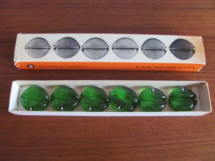 Vtg Set of 6 MCM PUKEBERG SWEDEN GREEN GLASS KNIFE RESTS PLACE CARD HOLDERS  | eBay