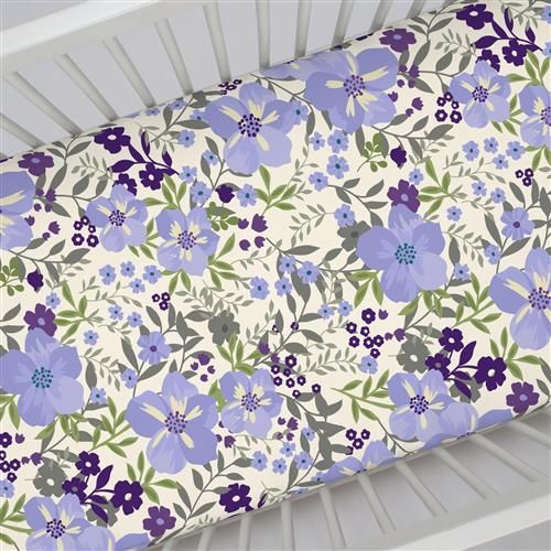Crib Fitted Sheet in and Lavender Floral Tropic by Carousel Designs.