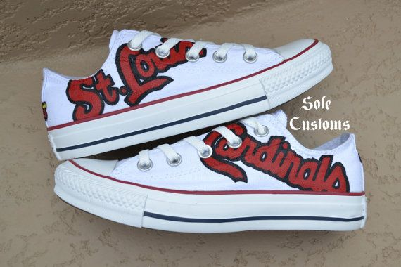 Boutique Custom Hand-Painted Men's Women's St. Louis Cardinals Low Top Canvas Converse on Etsy, $125.00