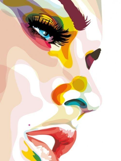 color in the shadows: Art Illustrations, Mélani Rolland, Graphics Art, Female Faces, Color Schemes, Art Piece, Digital Art, Fabrics Paintings, Design