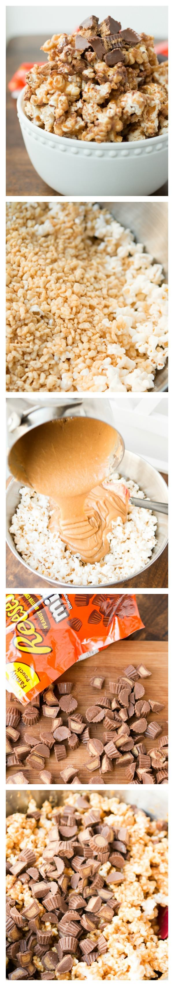 The ULTIMATE popcorn, Reese's Krispies Popcorn! ohsweetbasil.com
