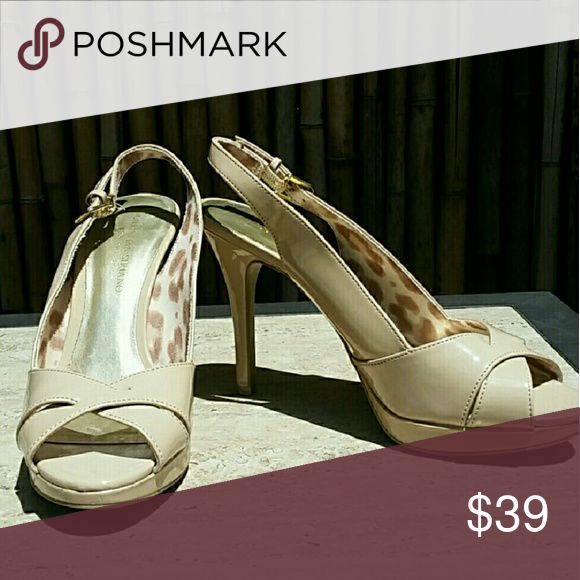 Cream Heeled Sandals size 8.5 Cream Heeled Sandals! Slingback strap, stilleto heel, platform base. Size 8.5  💲Bundle & Save!💲😀 🚫No Trades/No Holds 🙄😘  🔘Use OFFER button to negotiate👍🤑 ❔Please Ask ?'s BEFORE you Buy🤔😃 💕Thank you for shopping my closet!💕 Real Haute Trends Shoes Heels