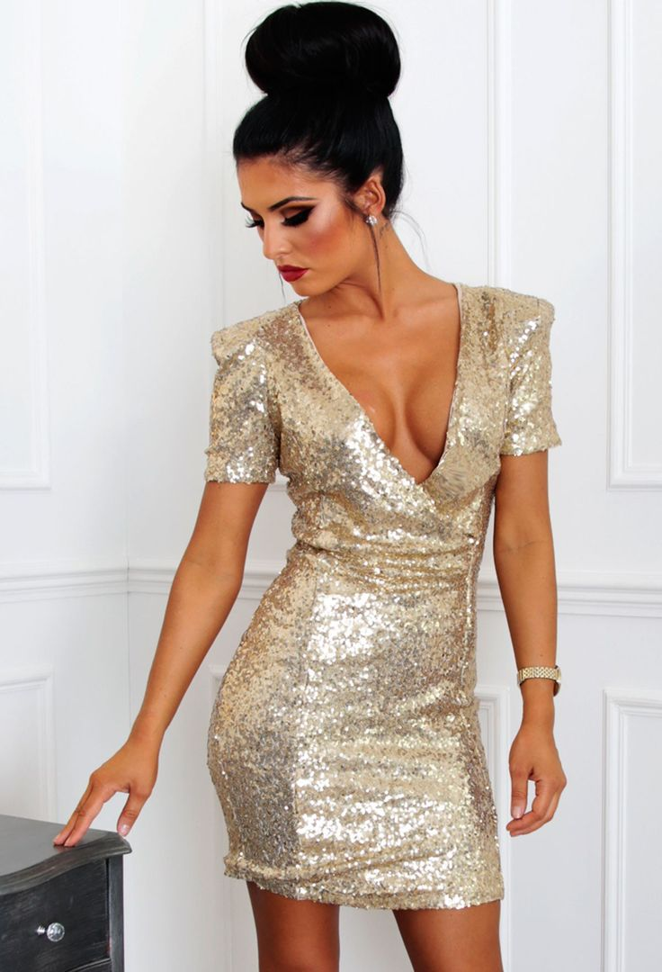 Decadence Gold Sequin Plunge Wrap Mini Dress | Pink Boutique