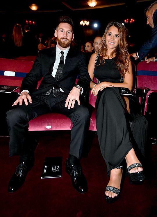 "lionelsmessi: """"Lionel Messi and his wife Antonella Roccuzzo take their seats for The Best FIFA Football Awards ceremony, on October 23, 2017 in London. "" """