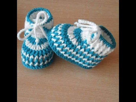 VERY EASY simple striped crochet baby shoes - YouTube