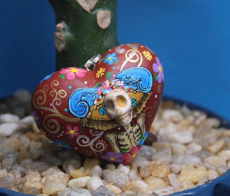 Alebrijes Painted Puffy Wood Heart & Catrina Day of the Dead Mexican Folk Art
