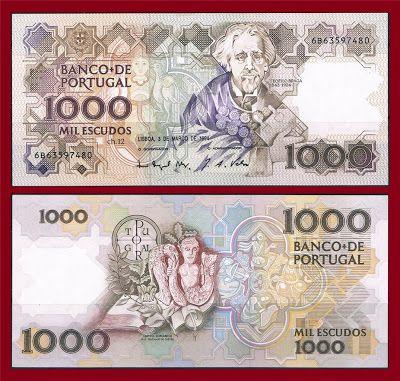 Notas de Portugal e Estrangeiro World Paper Money and Banknotes: Portugal 1000 Escudos 1994 - Pick 181k
