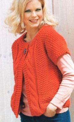 Модный вязанный жакет без рукавов