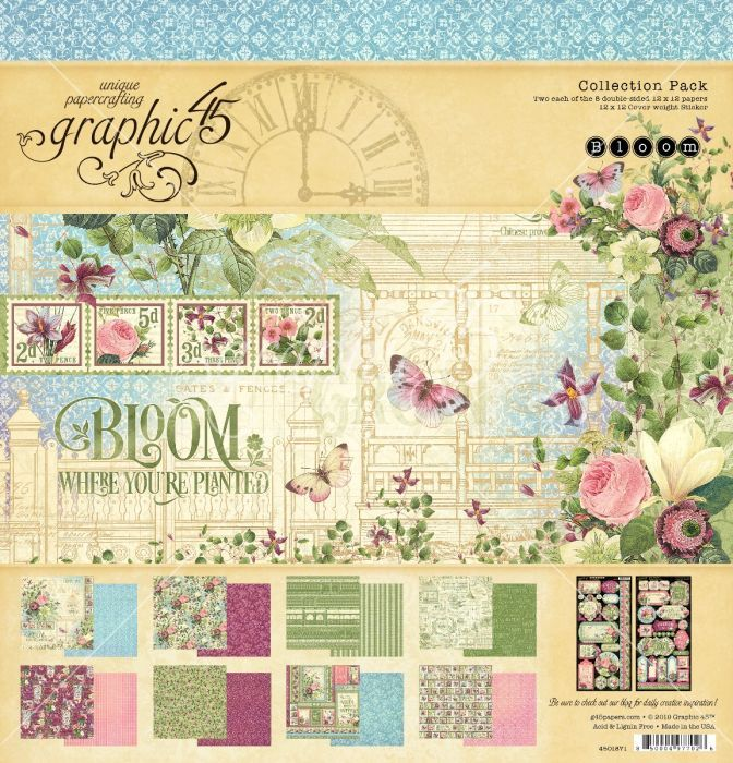 Bloom 12 X 12 Collection Pack Graphic 45 12 X 12 Patterned Paper Patterned Cardstock Paper Material Graphic 45 Paper Pads Paper Crafts